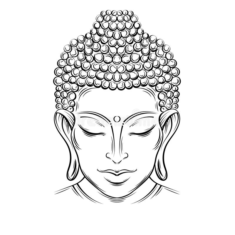 Buddha`s head tattoo. Buddha head - elegant illustration. The symbol of Hinduism, Buddhism, spirituality and enlightenment. Tattoo, illustration, printing on royalty free illustration