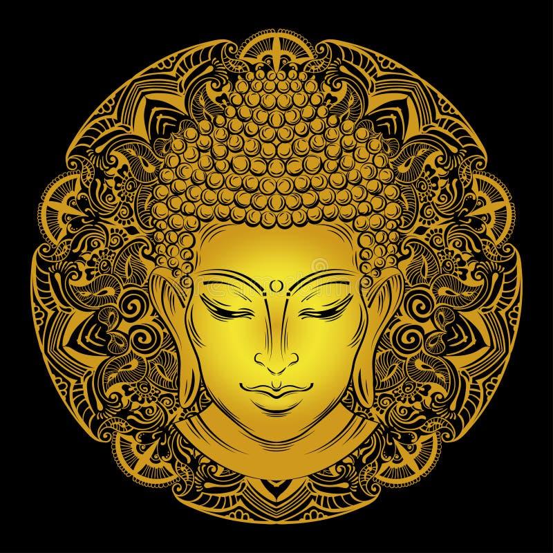 Buddha`s head tattoo vector illustration