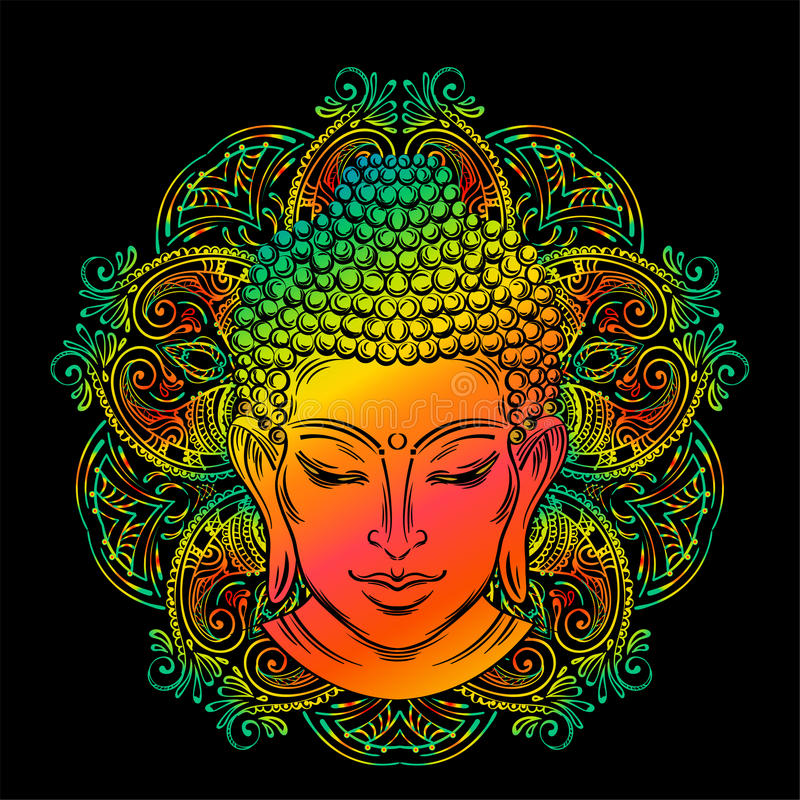 Buddha`s head tattoo. Buddha head with paisley ornament, mehendi. The symbol of Hinduism, Buddhism, spirituality and enlightenment. Tattoo, illustration vector illustration