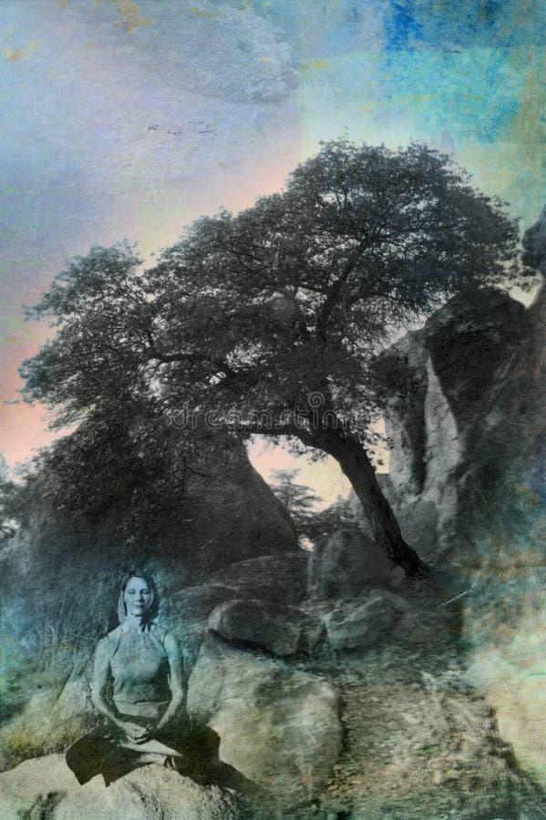 buddha samtidakvinna royaltyfri illustrationer