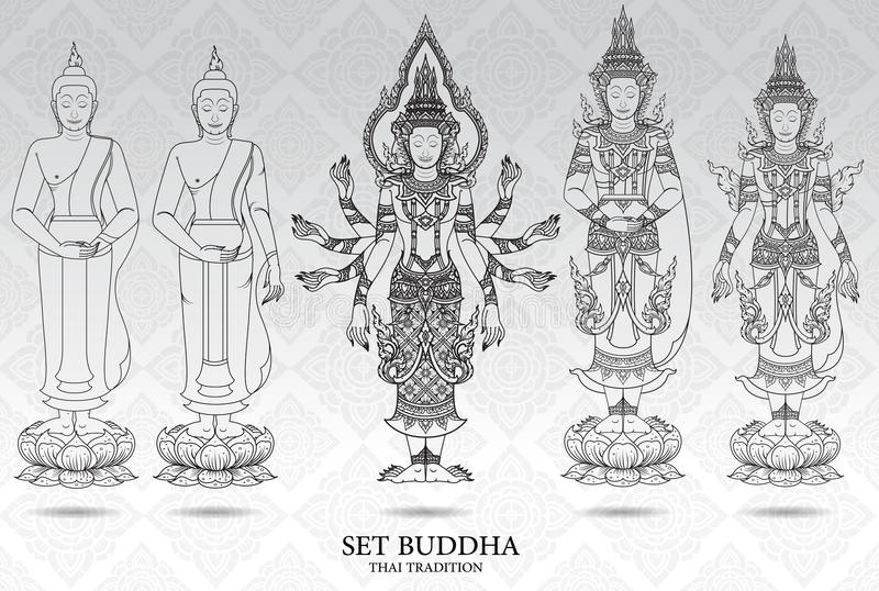 Buddha set thai tradition style,pattern background. Vector stock illustration