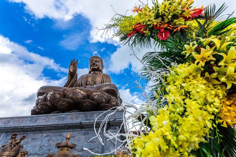 Buddha Shakyamuni bronze statue in Truc Lam Thien Truong. royalty free stock photo