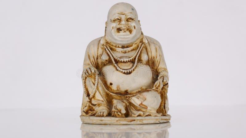 buddha siedzi i uśmiechy i śmiechy obraz royalty free