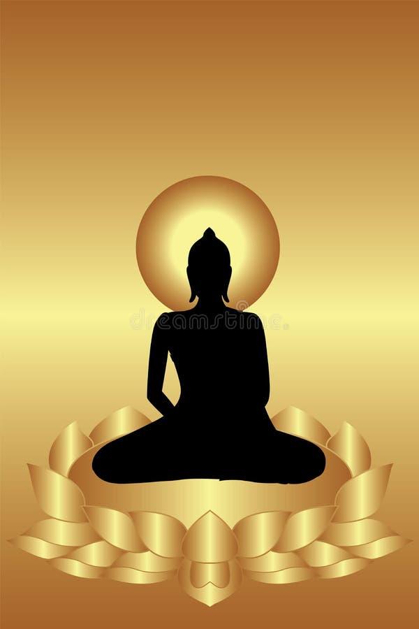 Buddha siedzi na lotosie ilustracji