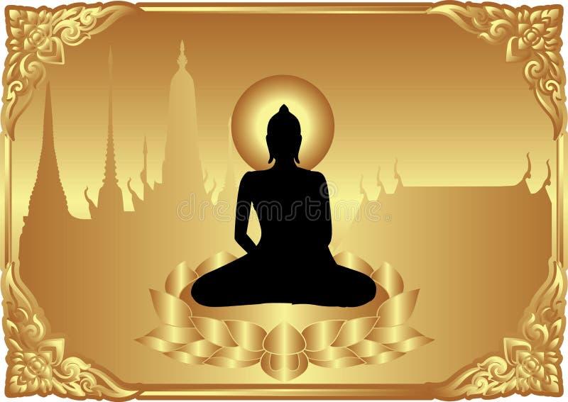 Buddha siedzi na lotosie royalty ilustracja