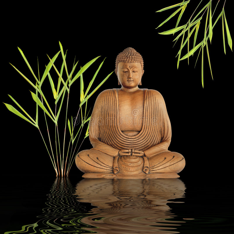 Buddha Silence. Zen abstract of a buddha in prayer in a garden with bamboo leaf grass and reflection over rippled water, over black background royalty free stock photo