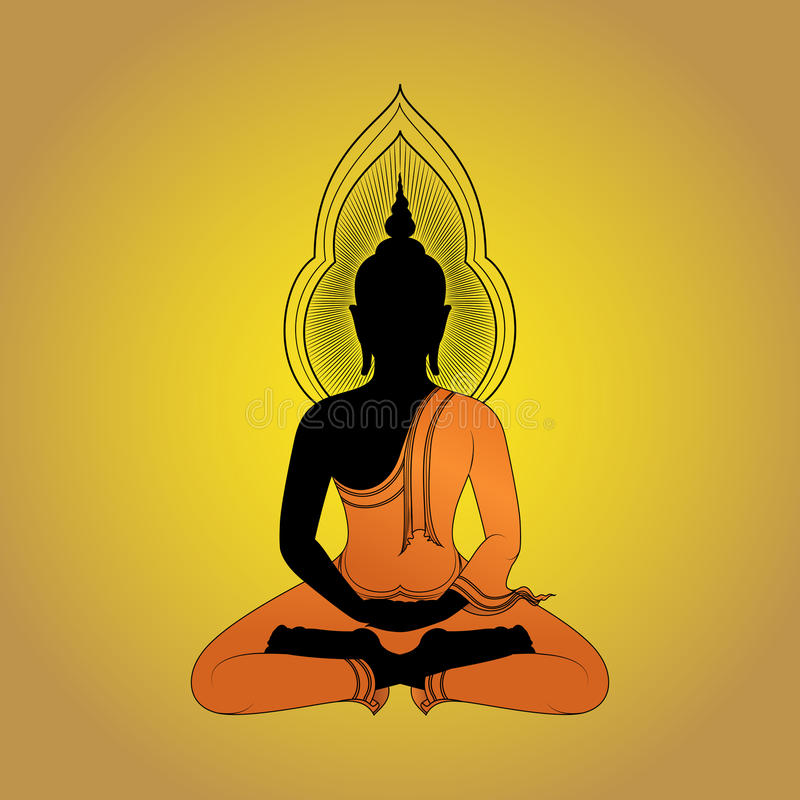 Buddha silhouette against gold background royalty free illustration
