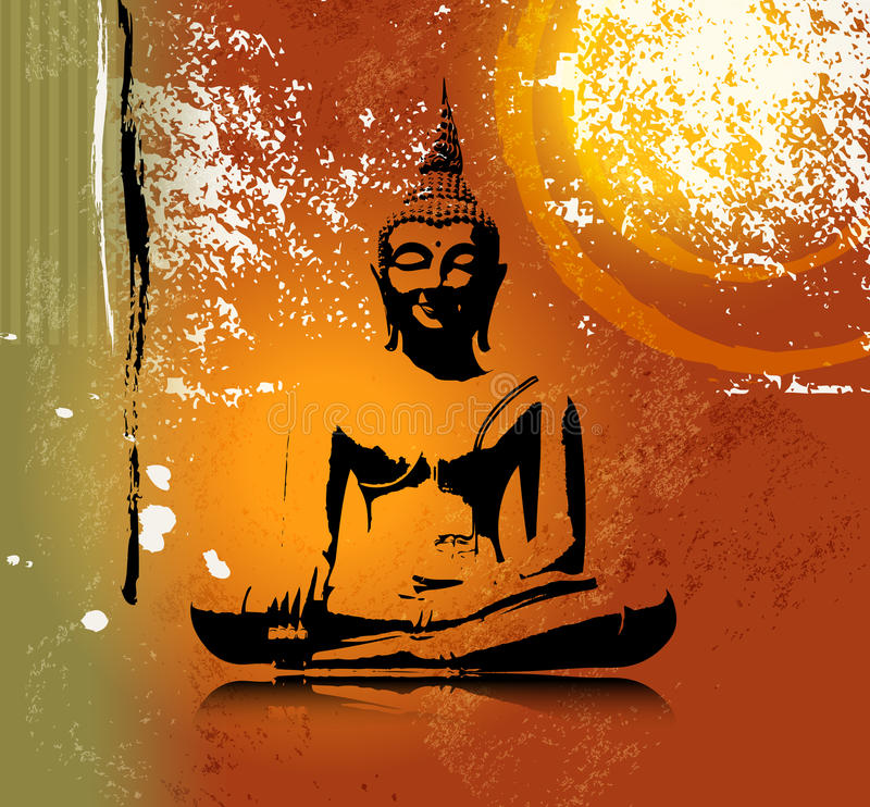 Buddha silhouette in lotus position against colorful grunge background. Abstract buddha illustration with grunge texture stock illustration