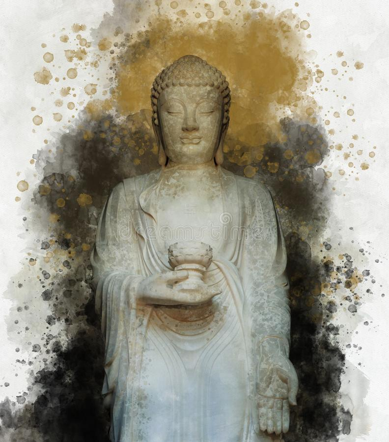 Buddha silhouette in lotus position and softly blurred watercolor background stock illustration