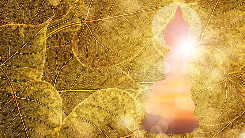 Buddha sit on Gold boleaf background double exposure or silhouette design royalty free stock photo