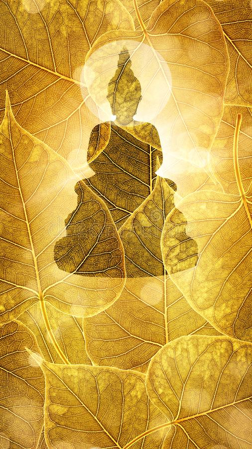 Buddha sit on Gold boleaf background double exposure or silhouette design stock photo