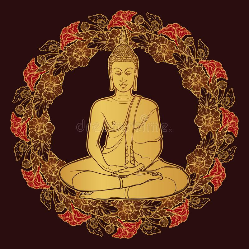 Free Buddha Sitting And Meditating In The Single Lotus Position. Decorative Circular. Thai Style Frame. Golden Linear Drawing Stock Photo - 115569420