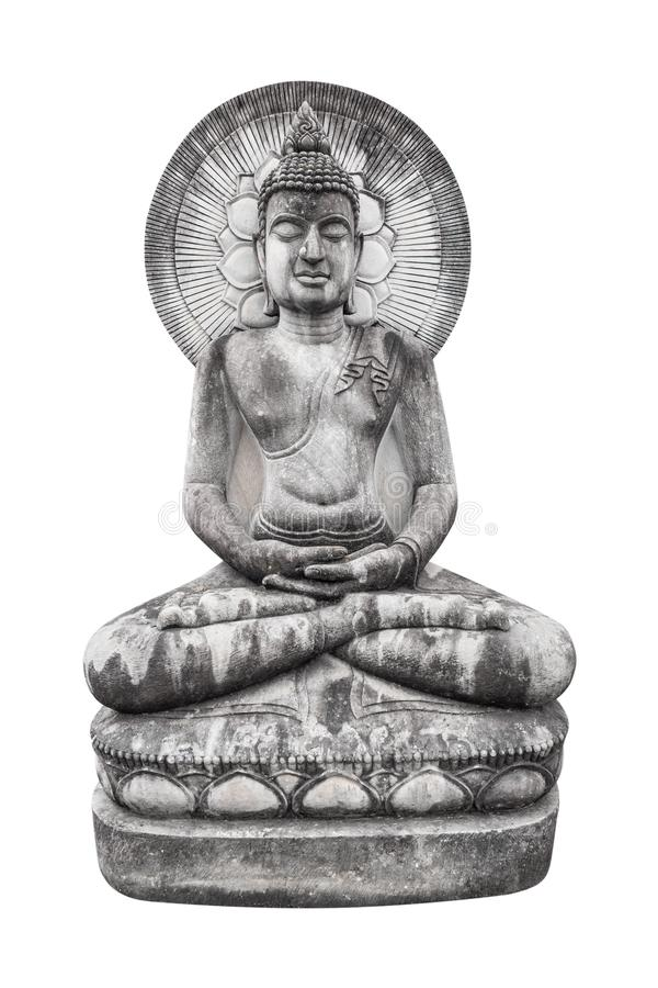 Buddha sitting image with halo statue isolated on white background stock images