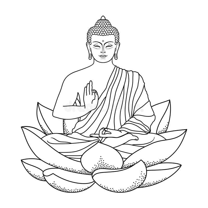 buddha sitting on lotus stock vector illustration of