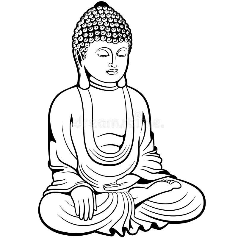 Buddha sitting in lotus pose stock illustration
