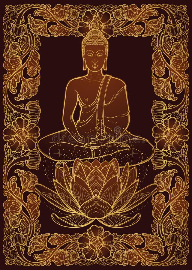 Free Buddha Sitting On A Lotus Flower And Meditating In The Single Lotus Position. Decorative Rectangular Thai Style Frame Stock Images - 115569394
