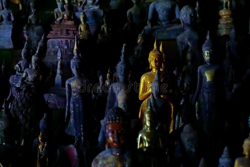 Buddha skulpterar, Pak Ou Caves, Luang Prabang, Laos royaltyfria bilder