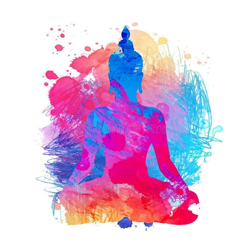 Buddha sopra il fondo dell'acquerello Illustrazione di vettore annata royalty illustrazione gratis