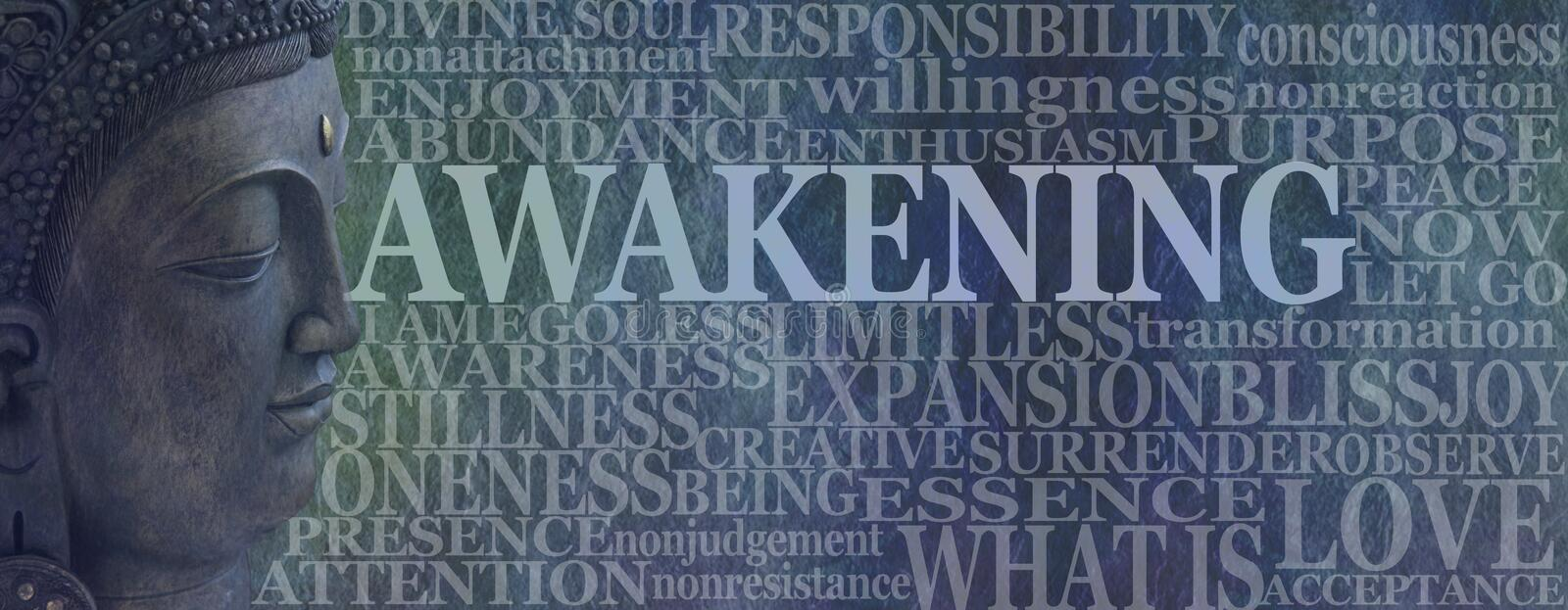 Buddha Spiritual Awakening Word Tag Cloud. Deity Buddha head on left with the word AWAKENING beside surrounded by a word cloud on a rustic blue background royalty free stock photos