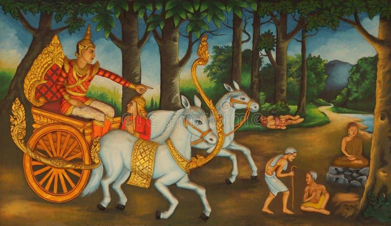 Buddha spotyka chorobę, starość i śmierć, obraz stock