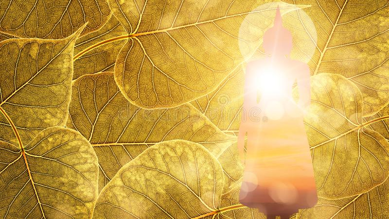 Buddha stand on Gold boleaf background double exposure or silhouette design royalty free stock photo