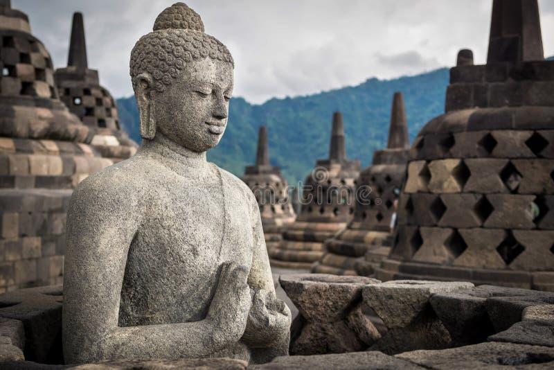 Buddha statua przy Borobudur, Jawa, Indonezja obraz stock
