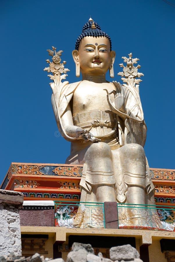 Buddha statua przy Liker monasterem w Ladakh, India fotografia royalty free