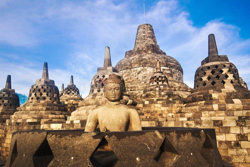 Buddha statua przy zmierzchem przy Borobudur, Jawa, Indonezja obraz royalty free
