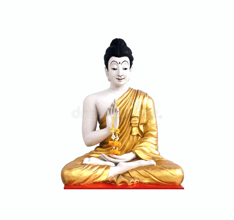 Buddha statue. Statue of a sitting Buddha isolated on white stock photo