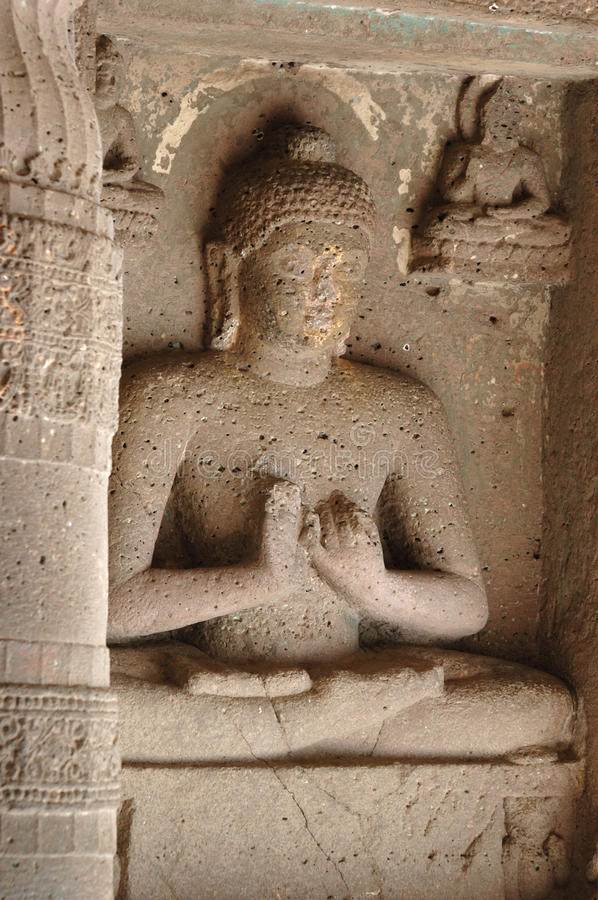 Buddha statue at Ajanta,cave temple complex,India royalty free stock photo