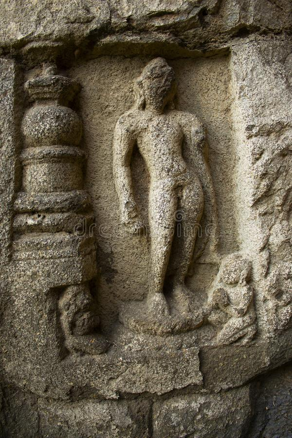Buddha statue carved in stone, Cave 10, Northern Cluster, Aurangabad caves, Aurangabad, Maharashtra. Buddha statue carved in stone, Cave 10, Northern Cluster stock photography