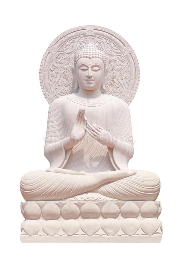 Buddha statue close up isolated against white stock image