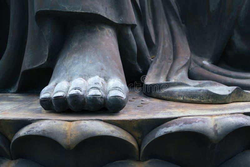 Buddha statue foot closeup in Po Lin Monastery, Hong Kong stock image