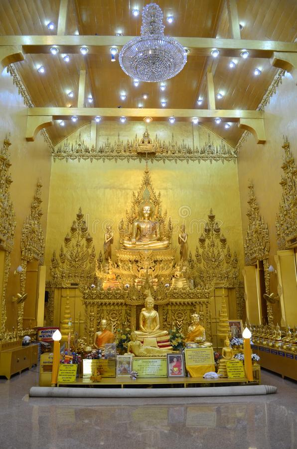Buddha statue. A group of Buddha images are found inside the church of Wat Joo Lo, Chachoengsao, Thailand stock photos