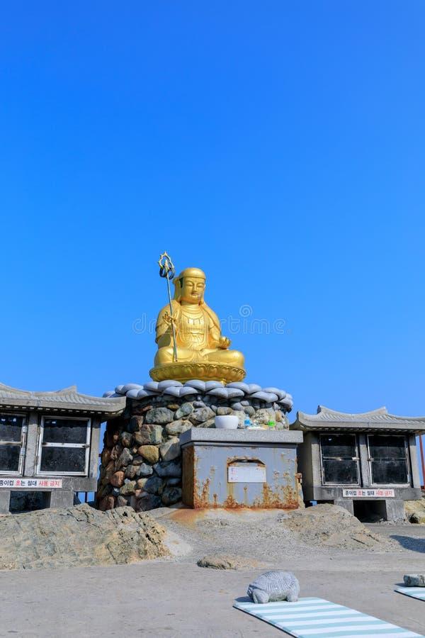 Buddha statue at Haedong Yonggungsa Temple in Busan. South Korea stock photo