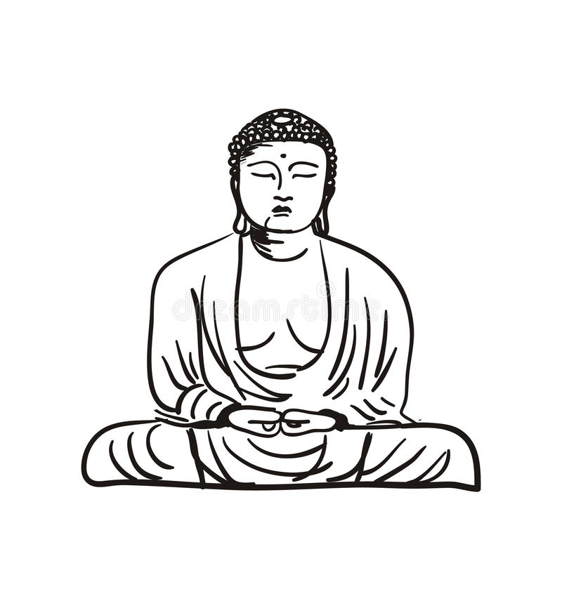 Buddha Statue Hand Drawn Icon Stock Vector Illustration Of