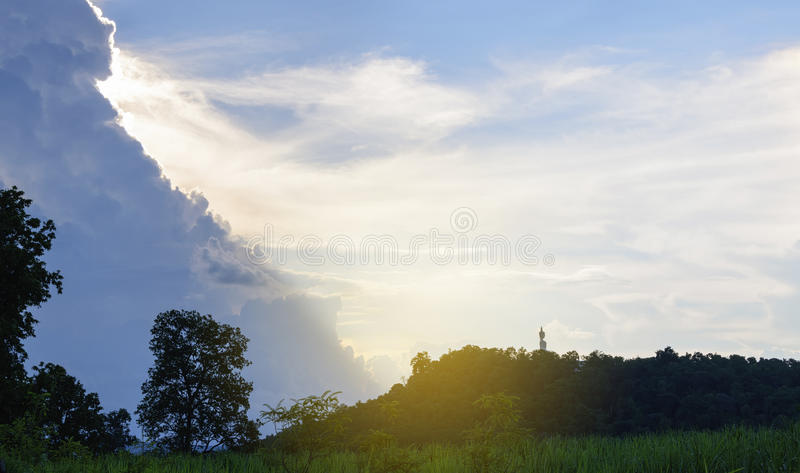 Buddha statue on the hill stock photos