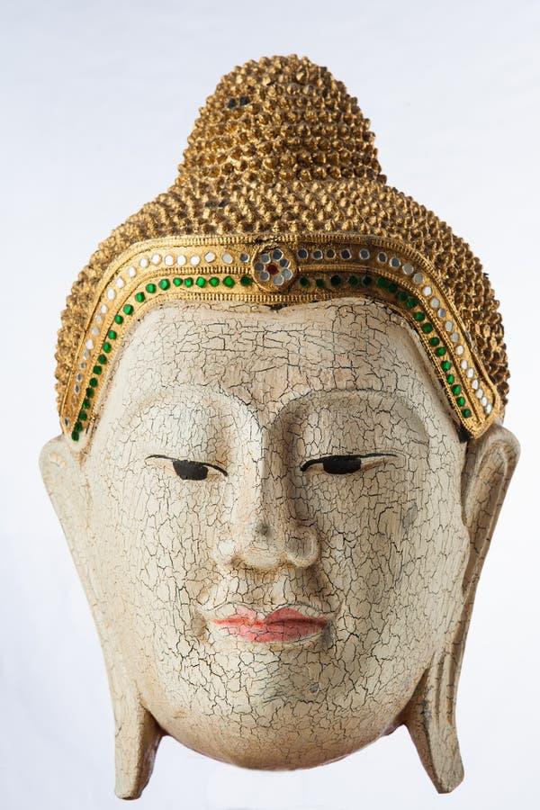 Buddha-Statue Holz auf weißem background@ Thailand lizenzfreies stockfoto