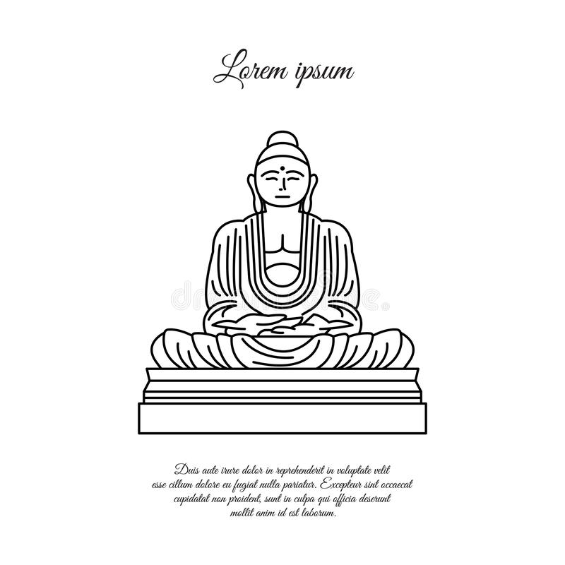 Buddha statue line icon. linear style sign for mobile concept and web design. Buddha in meditation position outline vector icon. vector illustration