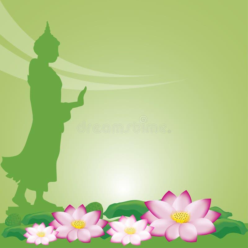 Buddha statue and lotus of thai tradition, Visakha Puja Day stock illustration