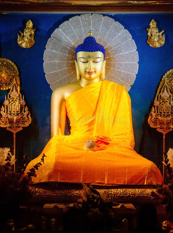 Buddha statue in Mahabodhi Temple. royalty free stock photos