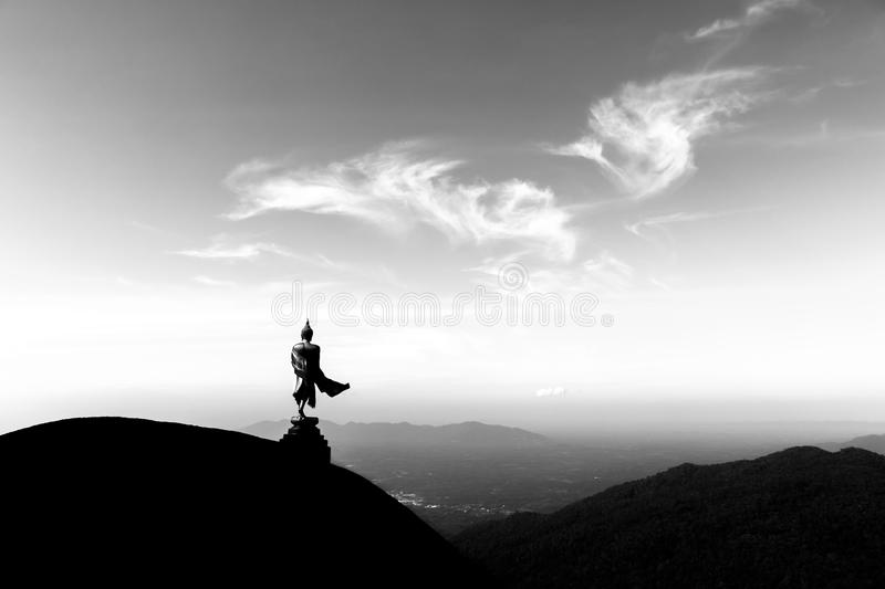 Buddha statue on the mountains royalty free stock photography
