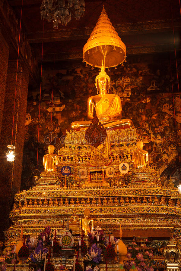 Buddha statue and murals, Thailand royalty free stock photos