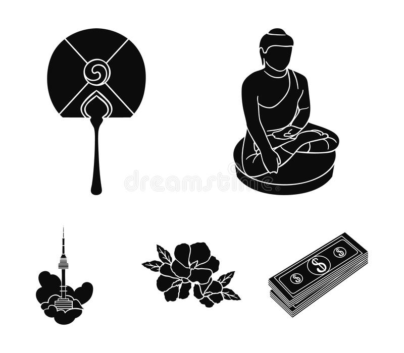 Buddha-Statue, nationaler Fan, Hibiscus blühen, Seoul-Turm Vector gesetzte Sammlungsikonen Südkoreas in der schwarzen Art Symbol stock abbildung