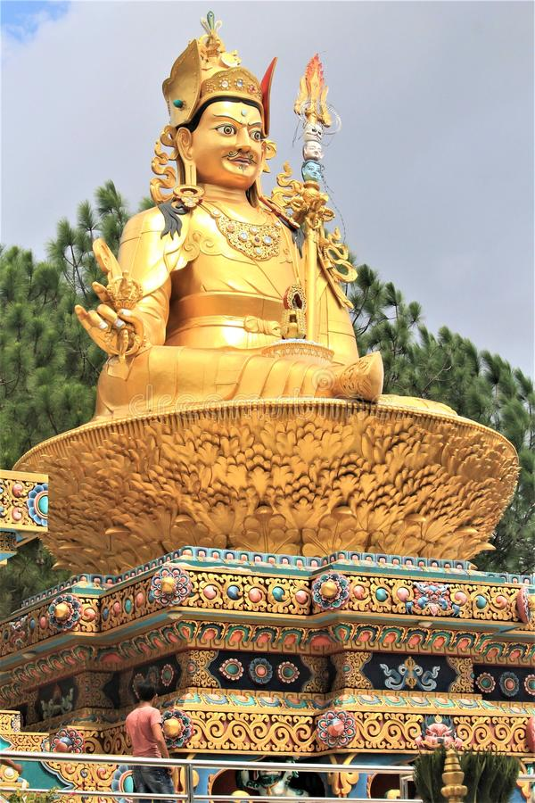 Buddha Statue. One of a holiest buddhist shrine in Kathmandu Valley. It is situated near & x28;behind& x29; Monket Temple Kathmandu Nepal royalty free stock photography