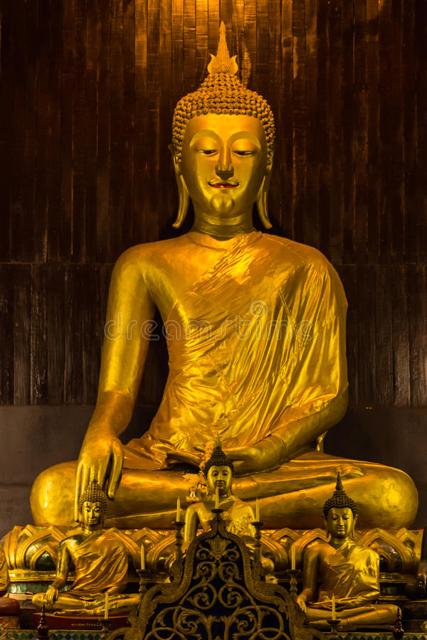 Buddha statue in Pan Tao Temple located in Chiang Mai , Thailand royalty free stock images