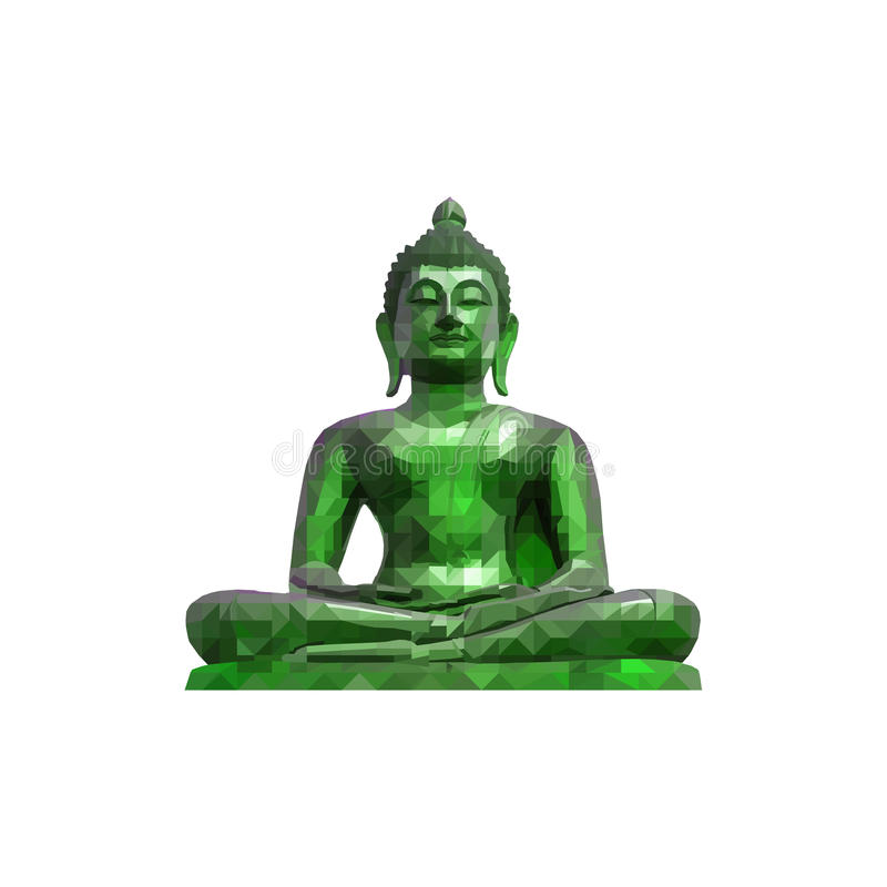 Buddha statue. Polygon abstract of Public Buddha sitting statue in thailand. poly low (geometric ) buddhism statue isolate on white backgrounds stock illustration