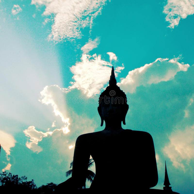 Buddha Statue in Sukhothai temple,Thailand with retro effect stock photos