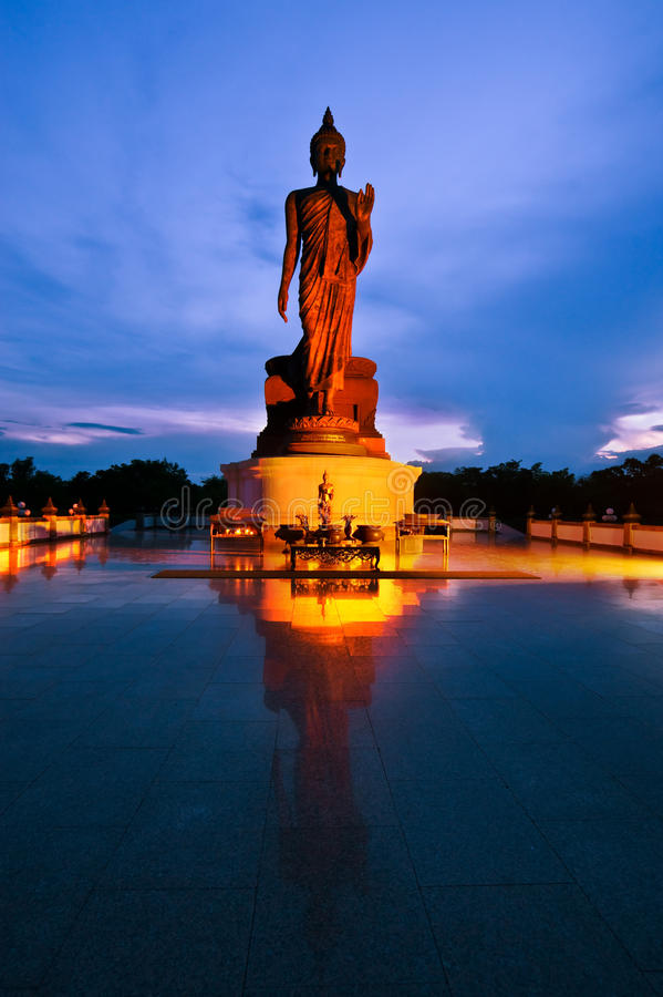 Buddha statue in Thailand. At night stock image