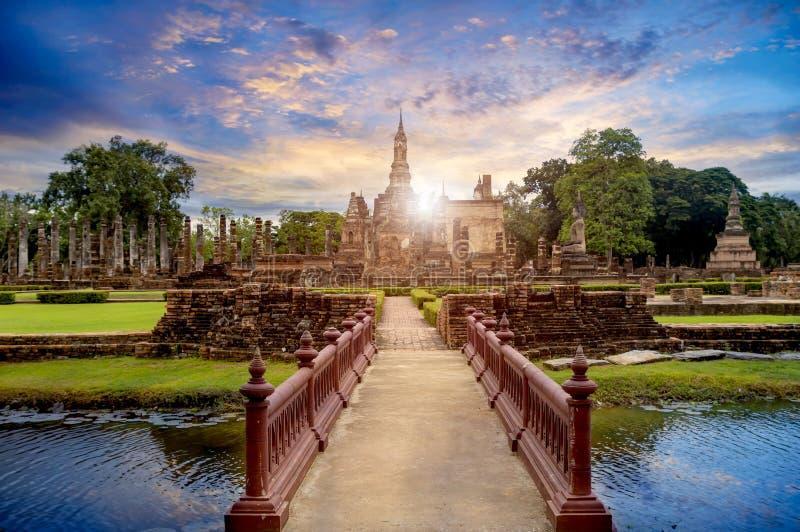 Buddha Statue at Wat Mahathat in Sukhothai Historical Park. stock image